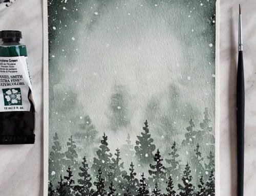 Beginner Tutorial: How to Paint Snowy Watercolor Pine Trees