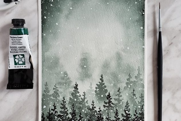 Beginner Tutorial: How to Paint Snowy Watercolor Pine Trees